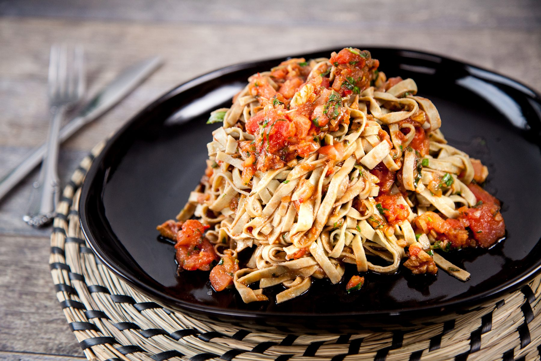 Walnut vegan pasta sauce with mung bean noodles