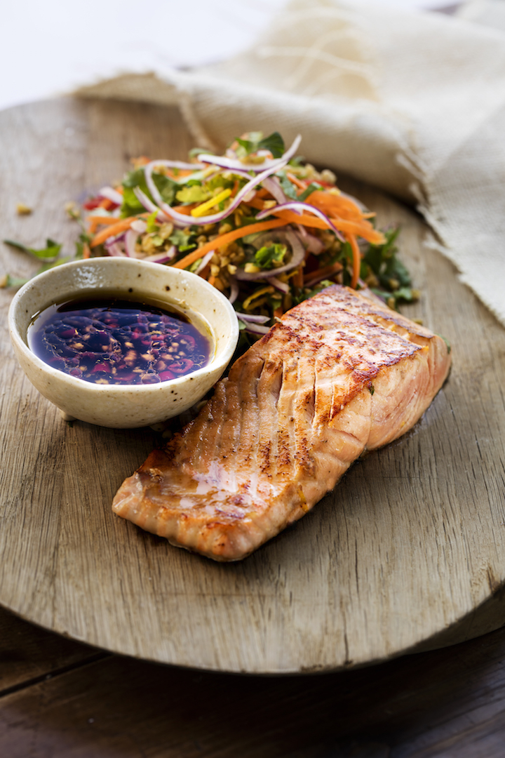 Citrus marinated salmon with freekeh salad  + anti-inflammatory eating