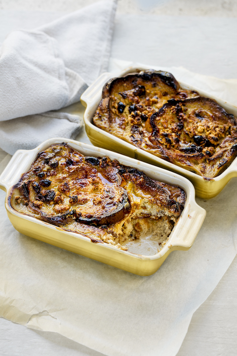 Gluten and dairy free bread and butter pudding, the perfect winter dessert!