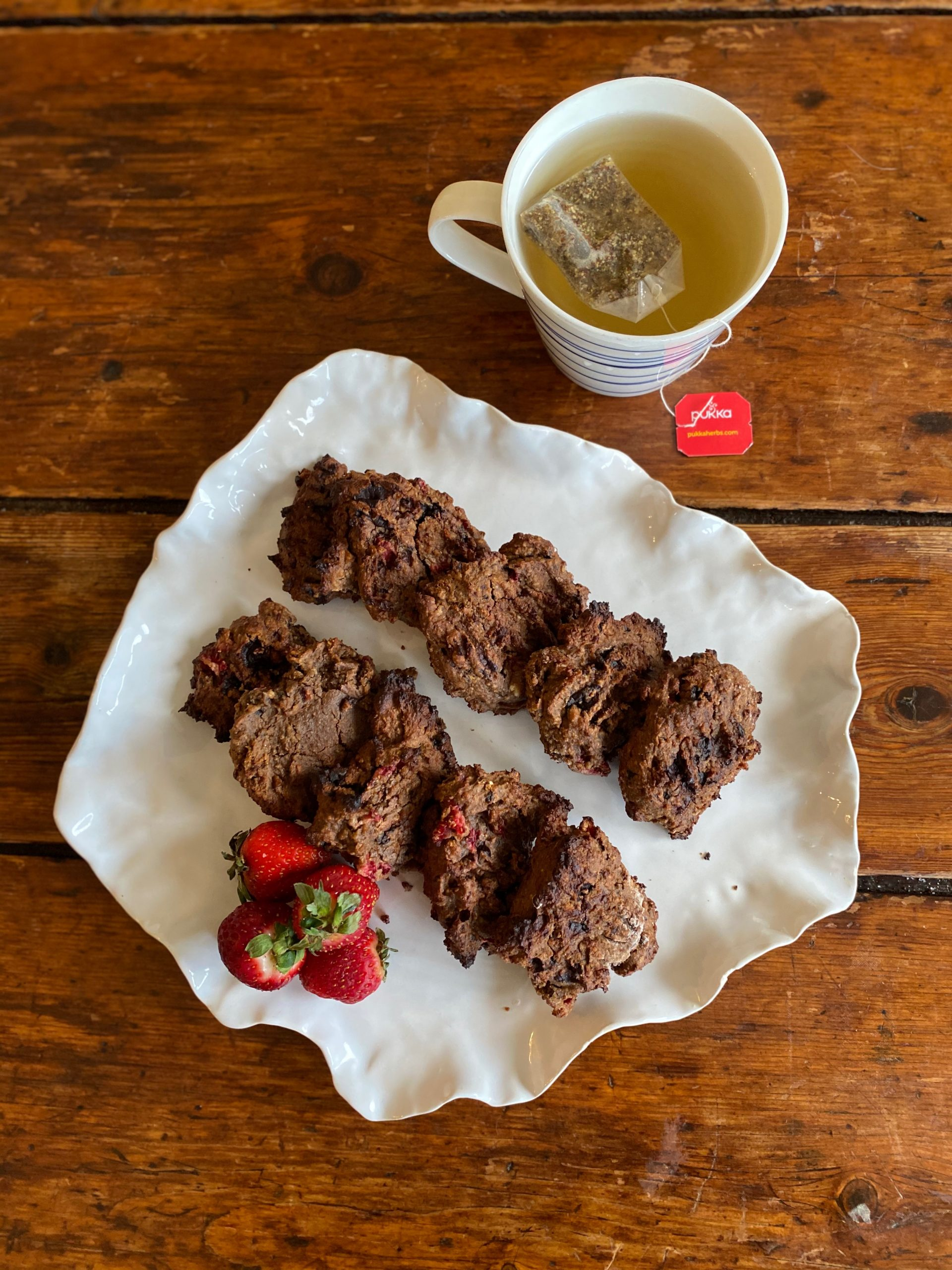 Gluten-free Chocolate Chickpea and Strawberry Cookies